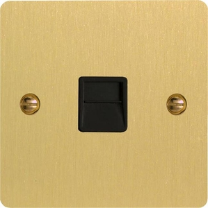 XFBTMB Varilight 1 Gang (Single), Telephone Master Socket, Ultra Flat Brushed Brass Effect