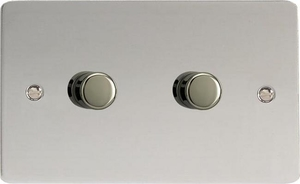 HFC62 Varilight V-Dim Series 2 Gang, 1 or 2 Way 2 x600 Watt Dimmer, Ultra Flat Polished Chrome