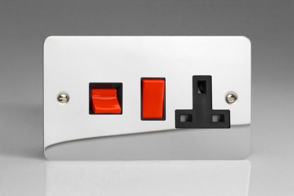 XFC45PB Varilight 45 Amp Cooker Panel with 13 Amp Switched Socket (Horizontal Double Size), Ultra Flat Polished Chrome