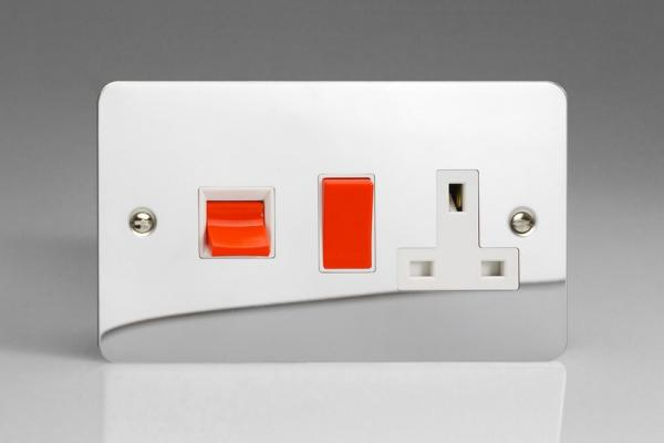 XFC45PW Varilight 45 Amp Cooker Panel with 13 Amp Switched Socket (Horizontal Double Size), Ultra Flat Polished Chrome