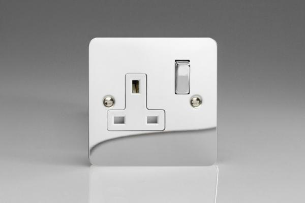 XFC4DW Varilight 1 Gang (Single), 13 Amp Switched Socket, Ultra Flat Polished Chrome