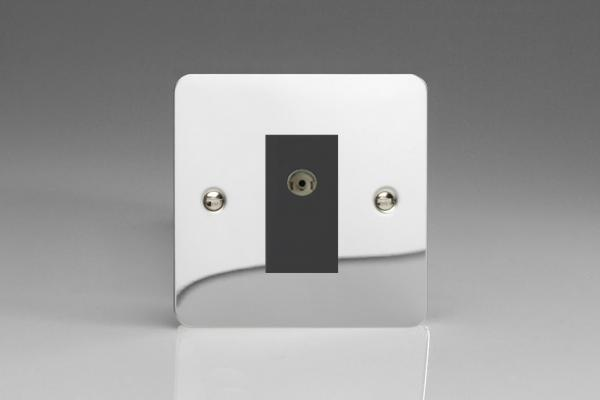 XFCG8ISOB Varilight 2 Gang (Double), Isolated Co-axial TV Socket, Ultra Flat Polished Chrome