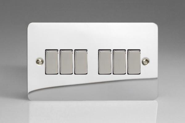 XFC96D Varilight 6 Gang 1or 2 Way 10 Amp Switch, Ultra Flat Polished Chrome (Double Plate)