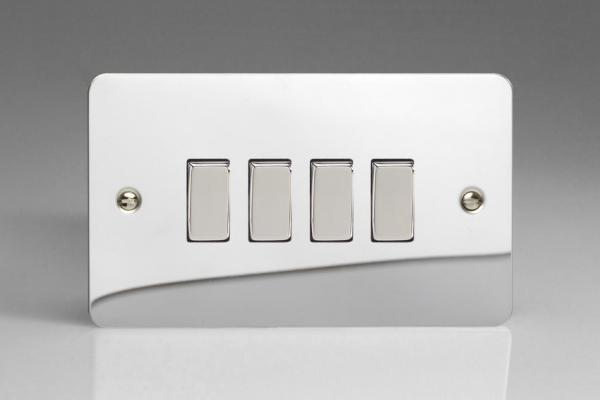 XFC9D Varilight 4 Gang (Quad), 1or 2 Way 10 Amp Switch, Ultra Flat Polished Chrome (Double Plate)