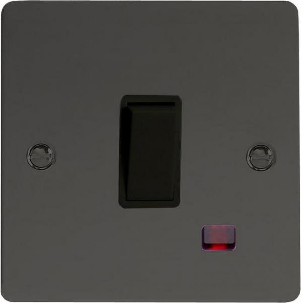 XFI20NB Varilight 1 Gang (Single), 20 Amp Double Pole Switch with Neon, Ultra Flat Iridium Black