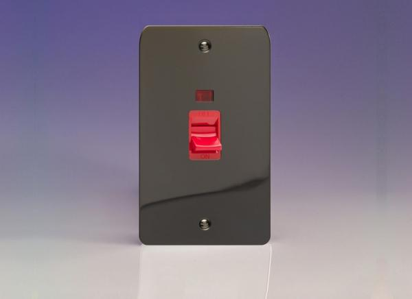 XFI45N Varilight 45 Amp Cooker Switch with Neon (Vertical Double Size), Ultra Flat Iridium Black