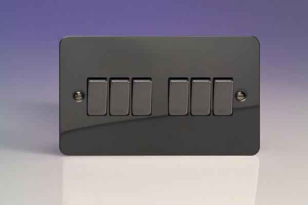 XFI96D Varilight 6 Gang 1or 2 Way 10 Amp Switch, Ultra Flat iridium Black (Double Plate)