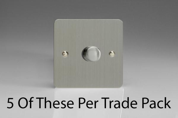HFS3-P5  This is a Trade Pack with 5 Units per box. Varilight V-Dim Series, 1 Gang, 1 or 2 Way 400 Watt Dimmer, Ultra Flat Brushed Steel