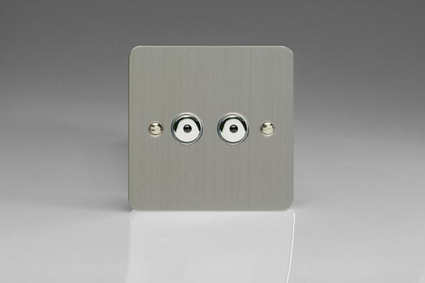 IFSI252M Varilight 2 Gang, 1 or 2 Way or Multi-way 2x250 Watt Touch/Remote Master Dimmer, Ultra Flat Brushed Steel