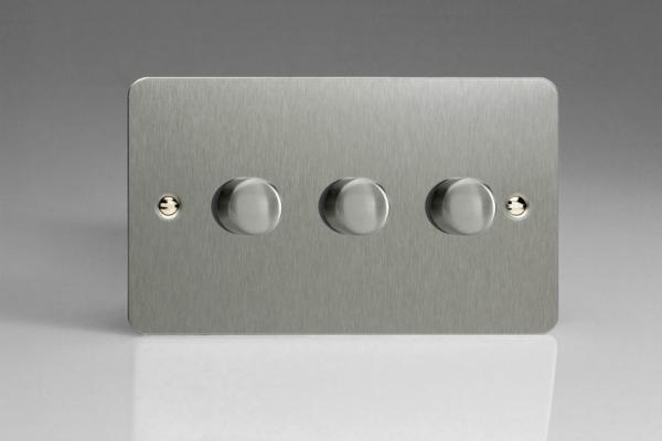 JFSDP303 Varilight V-Pro Series, 3 Gang, 1 or 2 Way, Push-On/Off Rotary LED Dimmer 3 x 0-120W (1-10 LEDs) (Twin Plate), Ultra Flat Brushed Steel