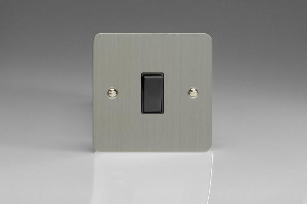 XFS20B-SP Varilight 1 Gang (Single), 20 Amp Double Pole Switch, Ultra Flat Brushed Steel (Bespoke & Special)