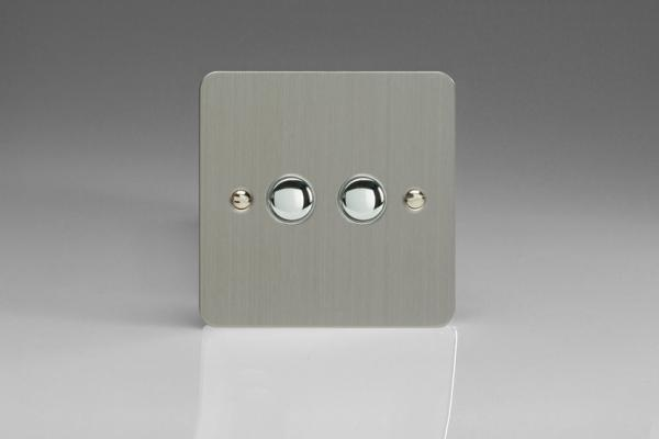 XFSP2 Varilight 2 Gang (Double) 1 or 2 way 6 Amp Push-on Push-off Switch (impulse), Ultra Flat Brushed Steel