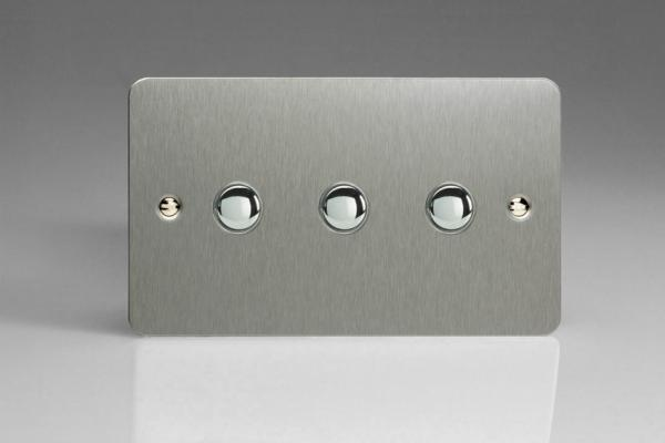 XFSM3 Varilight 3 Gang (Triple), 1 Way, 6 Amp  Retractive/Momentary Switch (Push To Make), Ultra Flat Brushed Steel