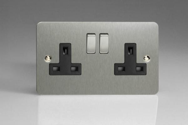 XFS5DB Varilight 2 Gang (Double), 13 Amp Switched Socket, Ultra Flat Brushed Steel