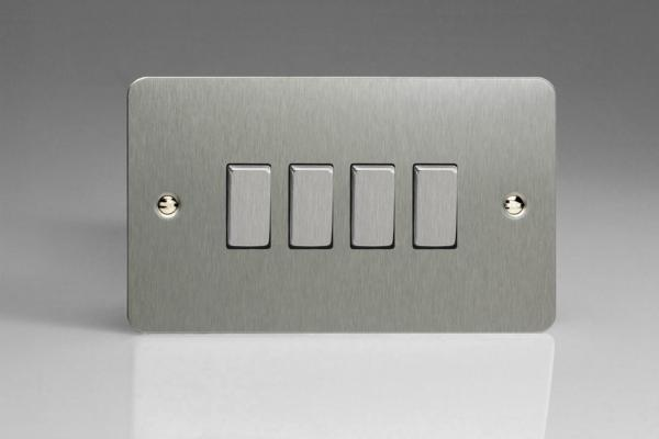 XFS9D Varilight 4 Gang (Quad), 1or 2 Way 10 Amp Switch, Ultra Flat Brushed Steel  (Double Plate)