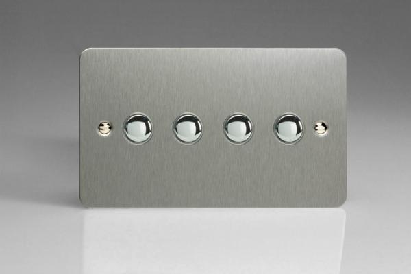XFSP4 Varilight 4 Gang (Quad) 1 or 2 way 6 Amp Push-on Push-off Switch (impulse), Ultra Flat Brushed Steel