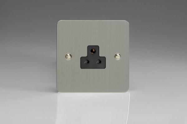 XFSRP2AB Varilight 1 Gang (Single), 2 Amp Round Pin Socket, Ultra Flat Brushed Steel