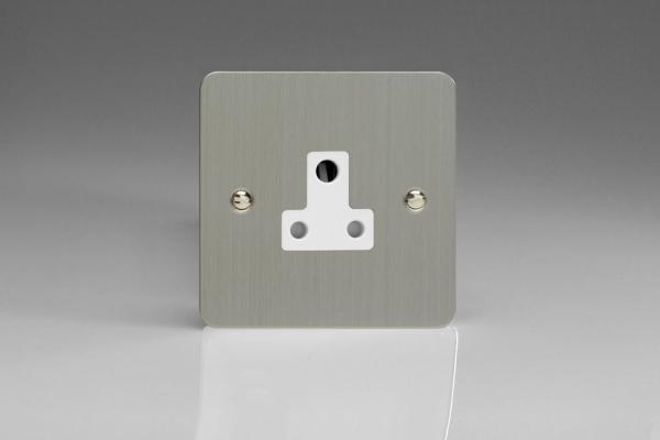 Varilight 1 Gang 5 Amp White Round Pin Socket 0-1150 Watts Ultra Flat Brushed Steel