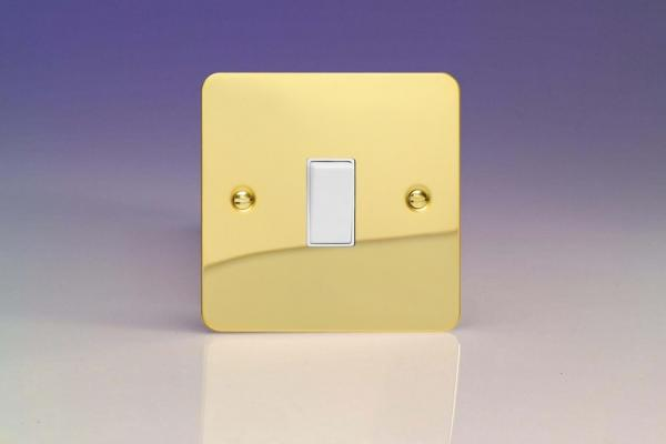 XFV20W Varilight 1 Gang (Single), 20 Amp Double Pole Switch, Ultra Flat Polished Brass Effect