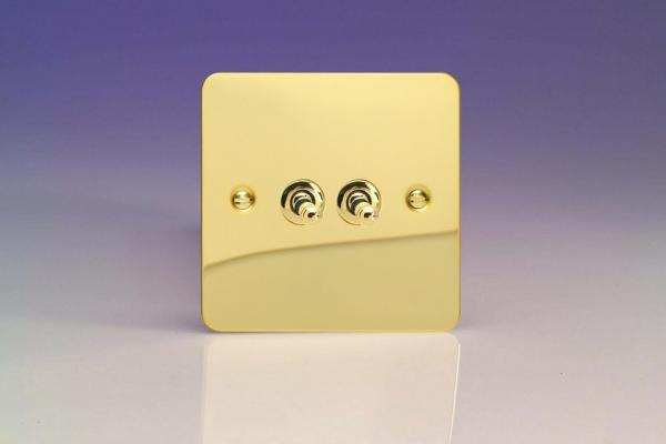 XFVT2 Varilight 2 Gang (Double), 1 or 2 Way 10 Amp Classic Toggle Switch, Ultra Flat Polished Brass Effect