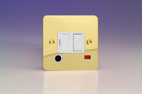 XFV6FONW Varilight 1 Gang (Single), 13 Amp Switch Fused Spur with Flex Outlet and Neon, Ultra Flat Polished Brass Effect