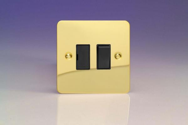 XFV6B-SP Varilight 1 Gang (Single), 13 Amp Switched Fused Spur, Ultra Flat Polished Brass Effect (Bespoke & Special)