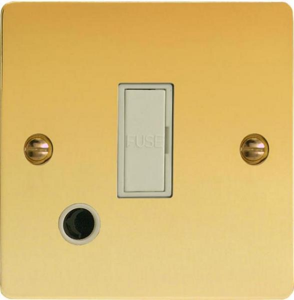 XFV6UFOW Varilight 1 Gang (Single), 13 Amp Unswitched Fused Spur with Flex Outlet, Ultra Flat Polished Brass Effect