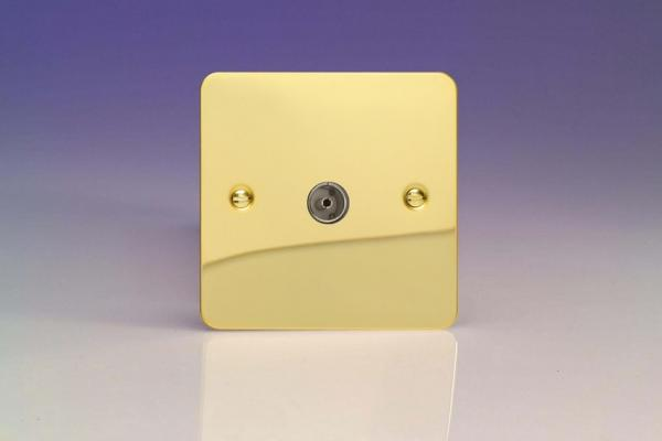 XFV8 Varilight 1 Gang (Single), Co-axial TV Socket, Ultra Flat Polished Brass Effect