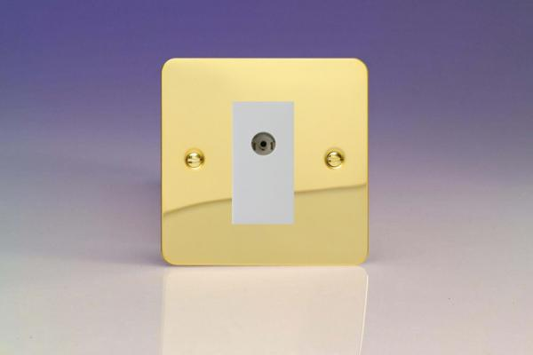 XFVG8ISOW Varilight 2 Gang (Double), Isolated Co-axial TV Socket, Ultra Flat Polished Brass Effect