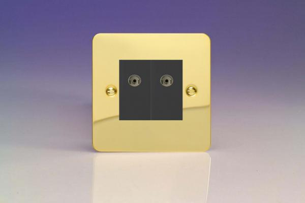 XFVG88B Varilight 2 Gang (Double), Co-axial TV Socket, Ultra Flat Polished Brass Effect