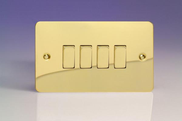 XFV9D Varilight 4 Gang (Quad), 1or 2 Way 10 Amp Switch, Ultra Flat Polished Brass Effect (Double Plate)