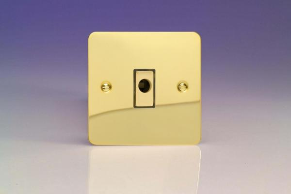 XFVFOD Varilight Flex Outlet Plate with Cable Clamp, Polished Brass Effect insert, Ultra Flat Polished Brass Effect