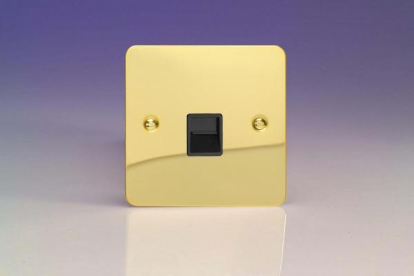 XFVTSB Varilight 1 Gang (Single), Telephone Slave Socket, Ultra Flat Polished Brass Effect