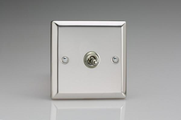 XCT1 Varilight 1 Gang (Single), 1 or 2 Way 10 Amp Classic Toggle Switch, Classic Polished Chrome (also known as Classic Mirror Chrome)