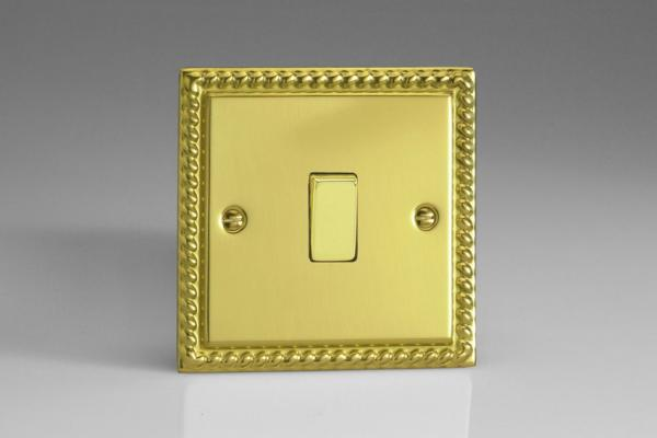 XG1D Varilight 1 Gang, 1 or 2 Way 10 Amp Switch, Classic Georgian Polished Brass Effect