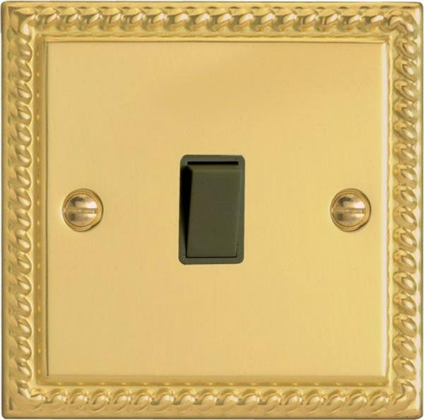 XGBPB Varilight 1 Gang (Single), 1 Way, 10 Amp Retractive Switch (Bell and Blind Switch), Classic Georgian Polished Brass Effect