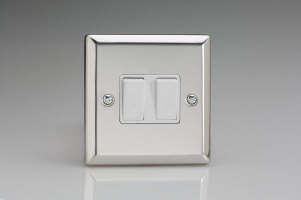 XC71W Varilight 2 Gang (Double): 1 Gang (3 Way) Intermediate and 1 Gang (1 or 2 Way) 10 Amp Switch, Classic Polished Chrome (also known as Classic Mirror Chrome)