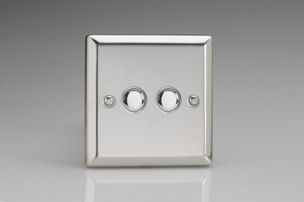 XCP2 Varilight 2 Gang (Double) 1 or 2 way 6 Amp Push-on Push-off Switch (impulse), Classic Polished Chrome (also known as Classic Mirror Chrome)