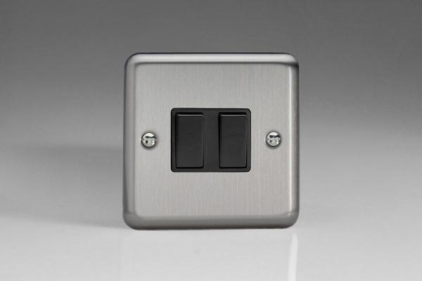 XS71B Varilight 2 Gang: 1 Gang Intermediate and 1 Gang 1 or 2 Way 10 Amp Switch, Classic Brushed Steel