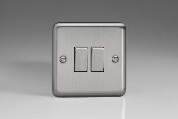Varilight 2 Gang Comprising of 1 Intermediate (3 Way) and 1 Standard (1 or 2 Way) 10 Amp Switch Classic Brushed Steel