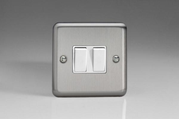 XS71W Varilight 2 Gang: 1 Gang Intermediate and 1 Gang 1 or 2 Way 10 Amp Switch, Classic Brushed Steel