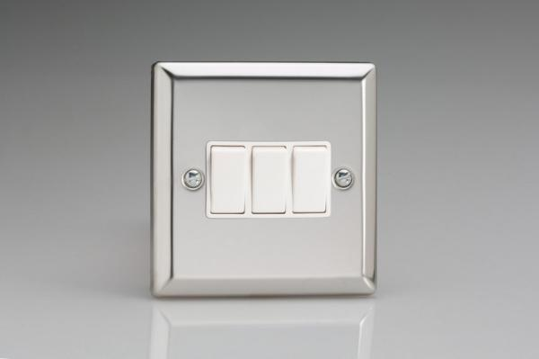 XC3W Varilight 3 Gang (Triple), 1 or 2 Way 10 Amp Switch, Classic Polished Chrome (also known as Classic Mirror Chrome)