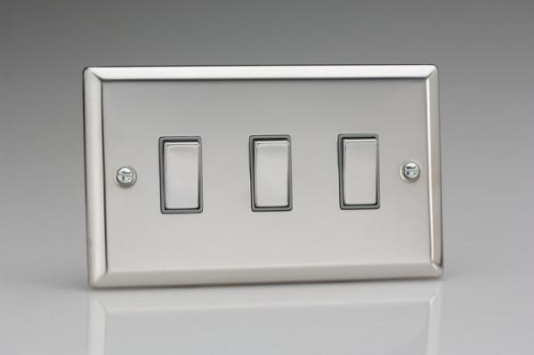 XC93D Varilight 3 Gang (Triple), 1or 2 Way 10 Amp Switch, Classic Polished Chrome (also known as Classic Mirror Chrome) (Double Plate)
