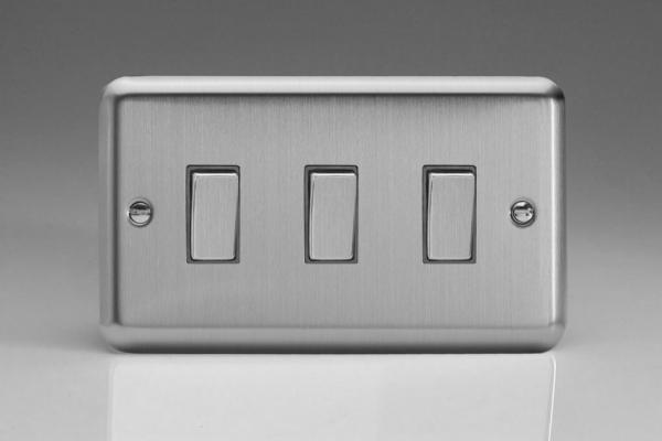 XS93D Varilight 3 Gang 1or 2 Way 10 Amp Switch, Classic Brushed Steel