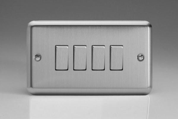 XS9D Varilight 4 Gang 1 or 2 Way 10 Amp Switch, Classic Brushed Steel