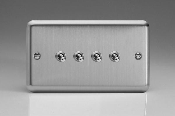XST9 Varilight 4 Gang, 1 or 2 Way 10 Amp Toggle Switch, Classic Brushed Steel
