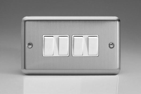 XS9W Varilight 4 Gang 1 or 2 Way 10 Amp Switch, Classic Brushed Steel