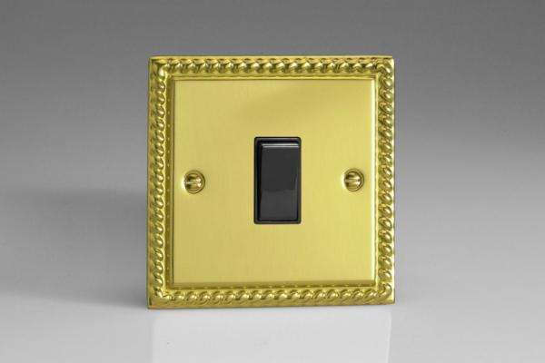 XG20B Varilight 1 Gang, 1 Way 20 Amp Switch, Classic Georgian Polished Brass Effect