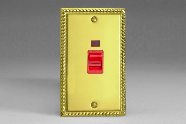 XG45N Varilight 45 Amp Vertical Cooker Switch with Neon, Classic Georgian Polished Brass Effect