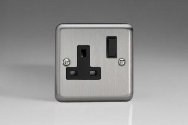 Varilight 1 Gang 13 Amp Double Pole Switched Socket Classic Brushed Steel
